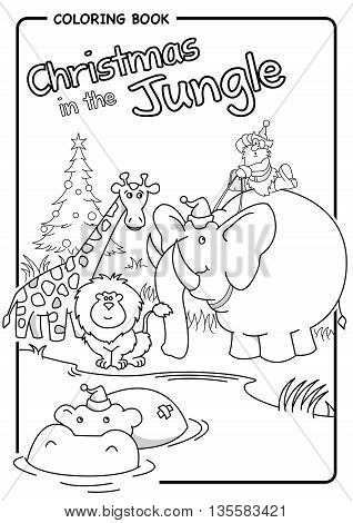 Christmas in the jungle - Santa riding an elephant - Coloring draw. Vector image