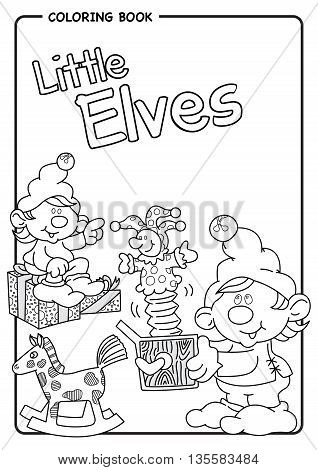 Santa's helpers play with jack in the box - Little Elves - Coloring draw. Vector image
