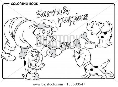 Santa gives a bone to puppies in Christmas - Coloring draw. Vector image