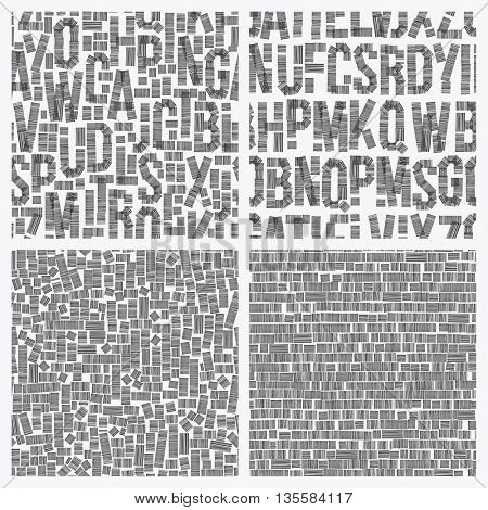 Seamless vintage style pattern, uneven grunge letters of random. Vector set