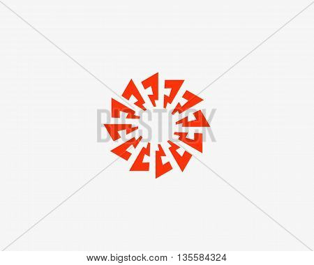 Abstract sun logo design template. Geometric flash circle science medicine sign. Universal energy tech planet star atom vector icon.