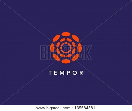Abstract hubs flower logo design template. Geometric dot circle science medical media sign. Universal energy tech planet star atom vector icon.