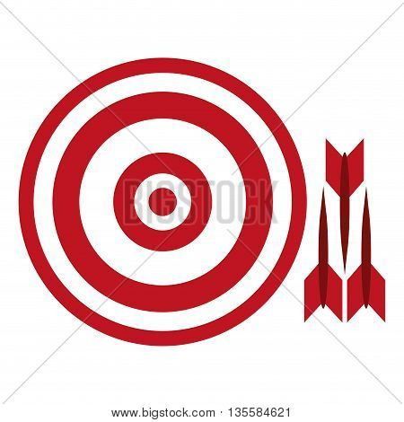 flat design red and white bullseye with three darts to the side vector illustration