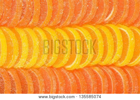 Orange And Lemon Candy Slices As Background