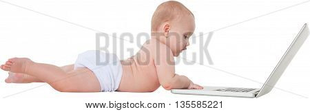 A photo of cute baby boy using laptop Full length side view of toddler is playing with wireless technology He is lying isolated over white background