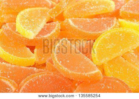 Orange And Lemon Candy Slices Close Up