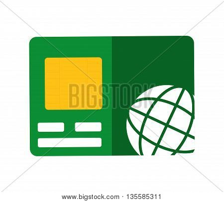 Money represented by credit card icon over isolated and flat background