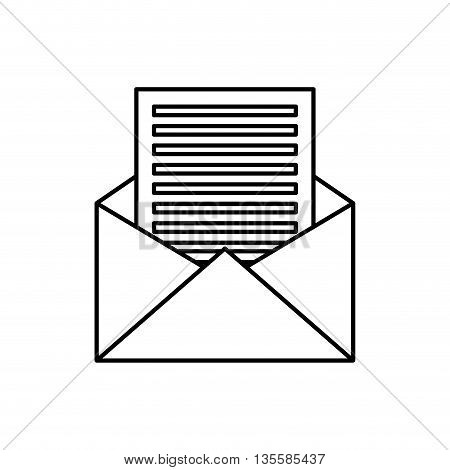 email represented by envelope and document icon over isolated and flat background