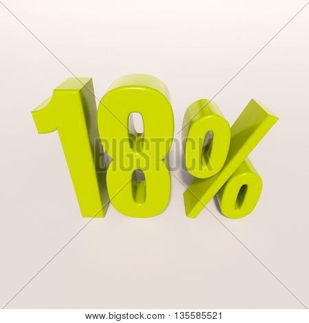 3d render: green 18 percent, percentage discount sign on white, 18%