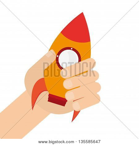 caucasian hand holding yellow toy rocket with round window icon vector illustration