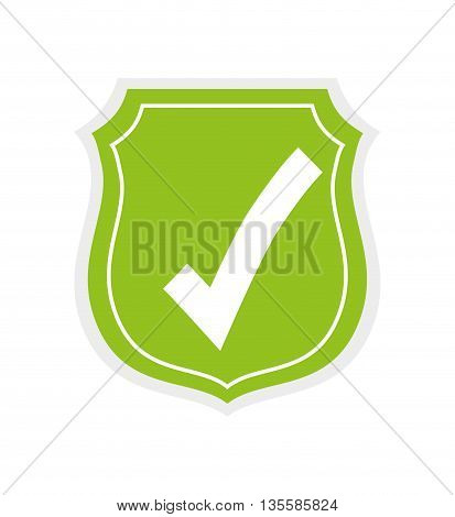Security and warning represented by shield icon over isolated and flat background