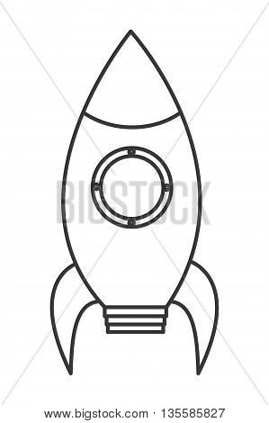 black line toy rocket with round window icon vector illustration