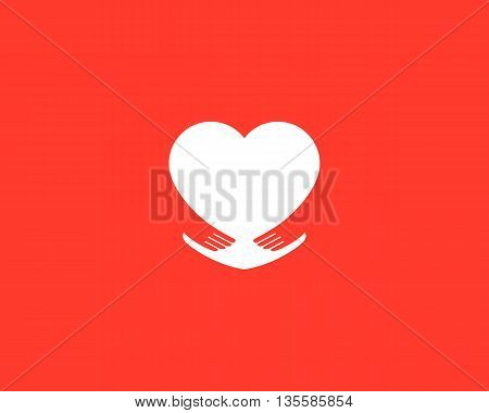 Abstract heart embrace logotype. Care symbol. Love hands icon vector sign.