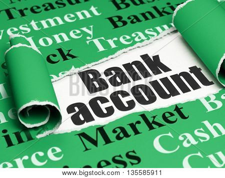 Banking concept: black text Bank Account under the curled piece of Green torn paper with  Tag Cloud, 3D rendering