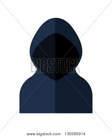 Security and warning represented by hacker icon over isolated and flat background