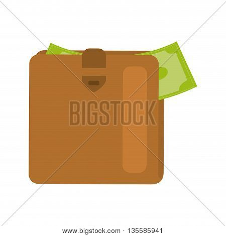 Money represented by bill and wallet icon over isolated and flat background