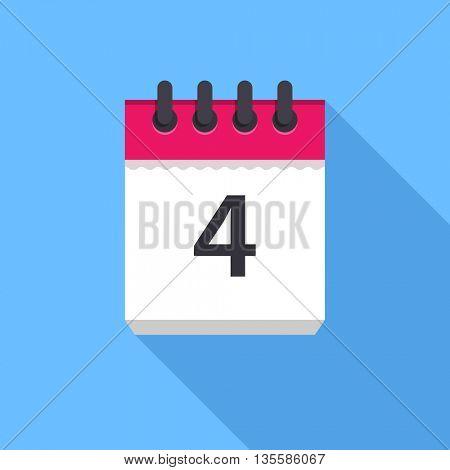 Calendar icon. Flat Design vector icon. Calendar on blue background. 4 day