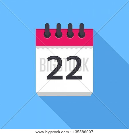Calendar icon. Flat Design vector icon. Calendar on blue background. 22 day