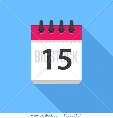 Calendar icon. Flat Design vector icon. Calendar on blue background. 15 day