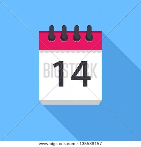 Calendar icon. Flat Design vector icon. Calendar on blue background. 14 day