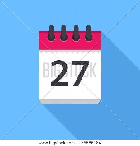 Calendar icon. Flat Design vector icon. Calendar on blue background. 27 day