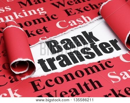 Banking concept: black text Bank Transfer under the curled piece of Red torn paper with  Tag Cloud, 3D rendering