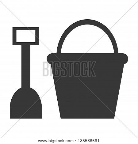 grey silhouette of toy sand shovel and bucket vector illustration