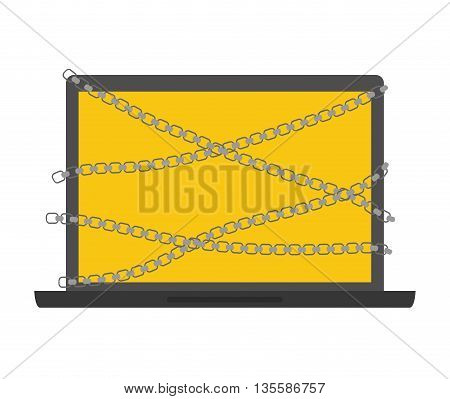 Security and warning represented by laptop icon over isolated and flat background