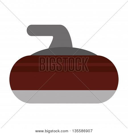 flat design curling stone icon vector illustration