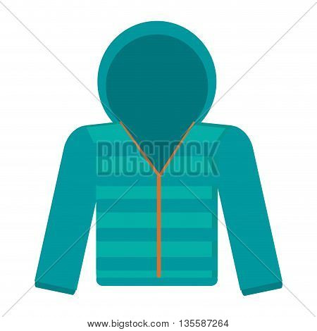 flat design blue hooded winter jacket icon vector illustration