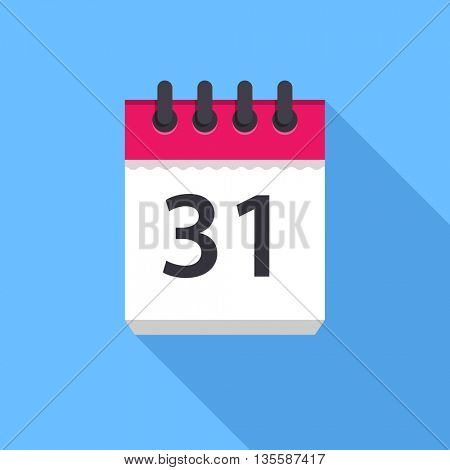 Calendar icon. Flat Design vector icon. Calendar on blue background. 31 day