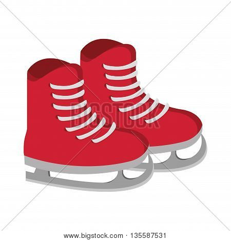 flat design red ice skates with laces vector illustration