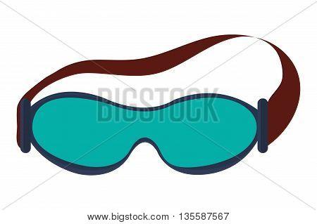 flat design blue ski goggles icon vector illustration