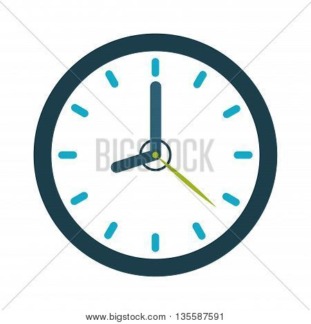 time represented by computer icon over clock and flat background