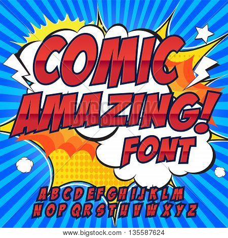Comic alphabet set. Red color version. Letters, numbers and figures for kids' illustrations websites comics banners.