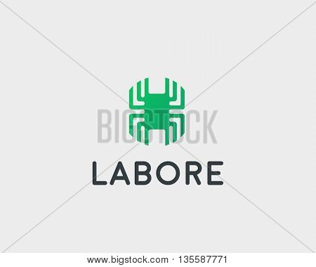 Technology logotype. Electronic vector logo. Chip symbol