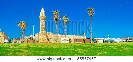 CAESARIA ISRAEL - MAY 19 2016: The medieval Mosque in archaeological zone is one of the favorite tourist objects located next to the port and local restaurants on May 19 in Caesaria.