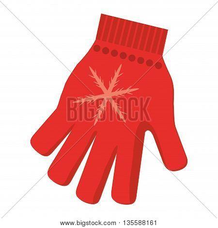 flat design single red winter glove icon vector illustration