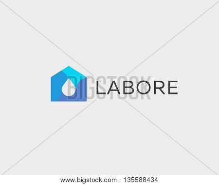 Abstract drop house logo design template. Colorful water home vector icon.