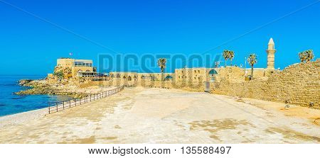 The Mediterranean resort of Caesarea boasts large archaeological site ful of the ancient Roman artifacts Israel.