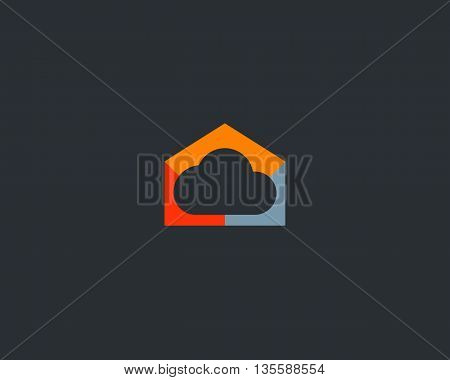 Abstract cloud home logo design. Storage house symbol
