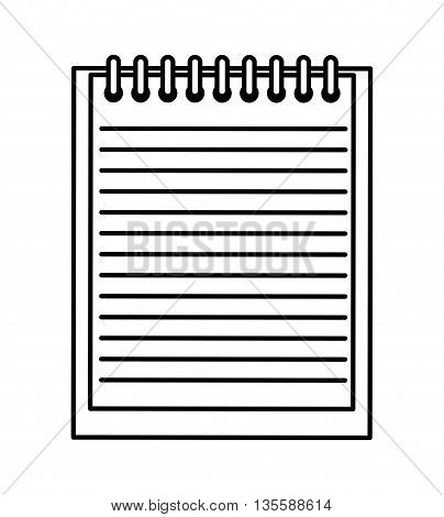 notebook represented by piece of paper icon over isolated and flat background
