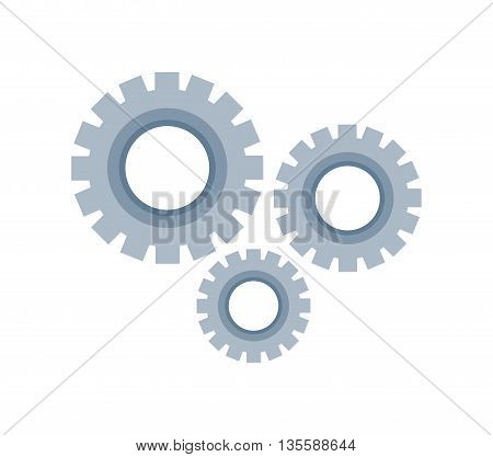 machine part represented by gear icon over isolated and flat background
