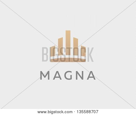 Abstract city town logo icon vector design. Crown symbol. Elegant house hotel architecture logotype. Royal graph diagram king premium emblem.