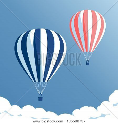 Hot air balloons flying in the blue sky with clouds hot air balloons set on blue background vector illustration