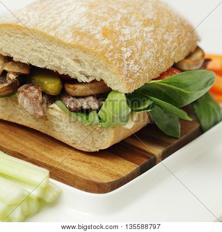 Fresh ciabatta with mushrooms beef and corn lettuce healthy food