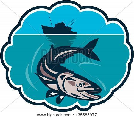 Illustration of a cobia (Rachycentron canadum) or black kingfish black salmon ling lemonfish crabeater prodigal son black bonito aruan tasek achycentron canadum diving down with fishing boat in the background set inside a bubble done in retro style.