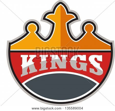 Illustration of a king's crown with the word KINGS in it set on isolated white background done in retro style.