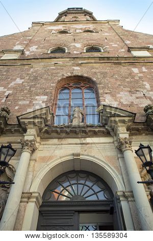 Architectural details of Saint Pyotr's church - cathedral church of Roman Catholic Diocese of Riga Latvia Europe. For the first time Saint Peter's church is mentioned in chronicles of 1209