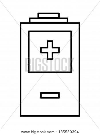 Energy represented by battery icon over isolated and flat background